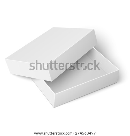 Template of blank cardboard box with opened lid lying on white background Packaging collection. Vector illustration. - stock vector