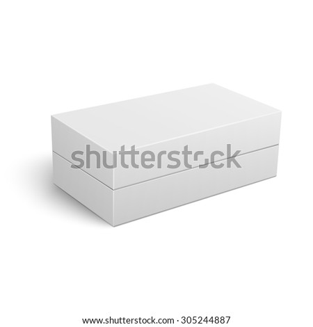 Template of blank closed cardboard box lying on white background Packaging collection. Vector illustration. - stock vector