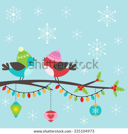 Template of Christmas card with couple of birds - stock vector