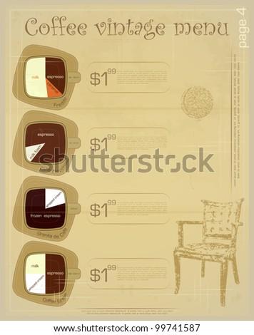 Template of menu for coffee drinks - freddo, macchiato, granita de cafe, breve - vintage vector illustration - stock vector