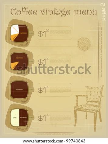 Template of menu for coffee drinks - irish, corretto, espresso, cafe con leche - vintage vector illustration - stock vector