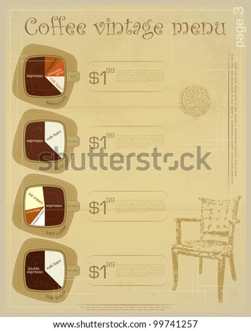 Template of menu for coffee drinks - marochino, toro, iced coffee, flat white - vintage vector illustration - stock vector