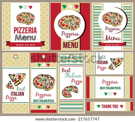 Template of menu for Pizza Restaurant and business card - stock vector