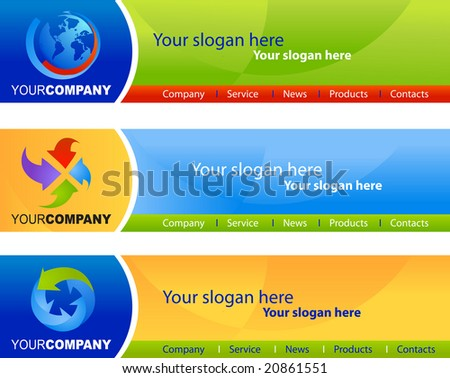 template of website banners / headers, easy to edit, vector file - 4 - stock vector