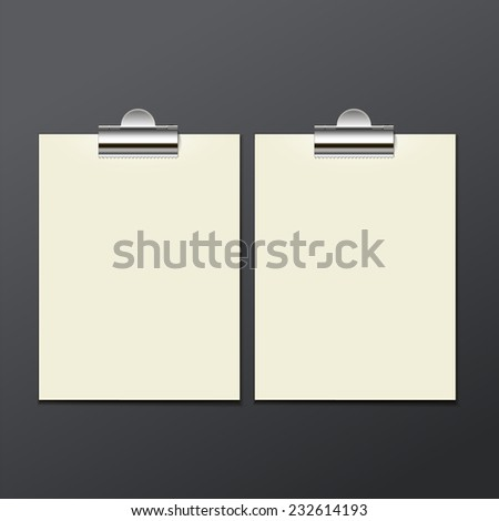 template of white paper clip on a gray background for your business, posters, illustrations, vector illustration eps 10 - stock vector