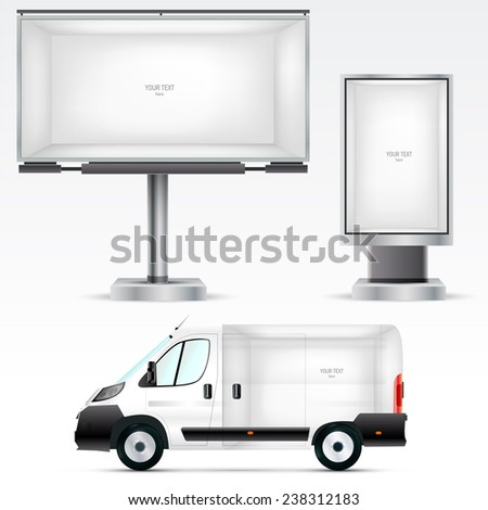Template outdoor advertising or corporate identity on the car, billboard and citylight. For business, branding and advertising companies. - stock vector