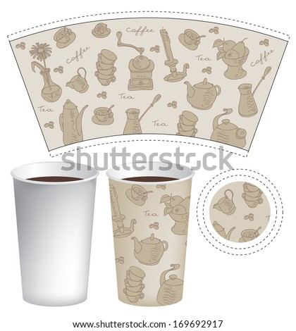 Template paper cup for coffee and tea with the texture of cutlery - stock vector