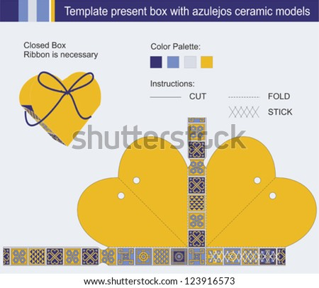 Template present box in heart shape with azulejos ceramic models - stock vector