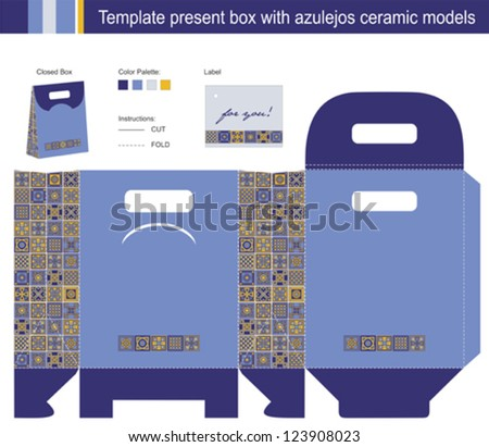 Template present box with azulejos ceramic models - stock vector