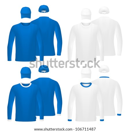 Template set: long sleeve blank t-shirts and hats. - stock vector