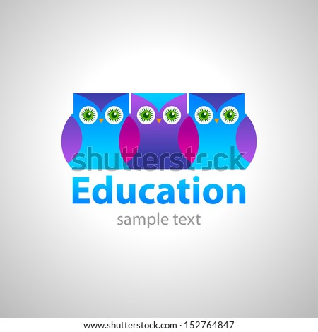 template sign for an educational center - owl - the symbol of wisdom and knowledge - stock vector