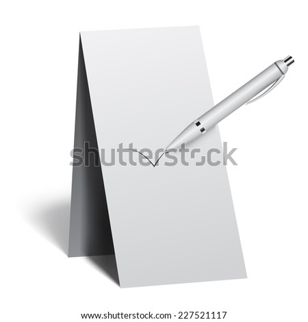 template, sign, label, with pen - stock vector