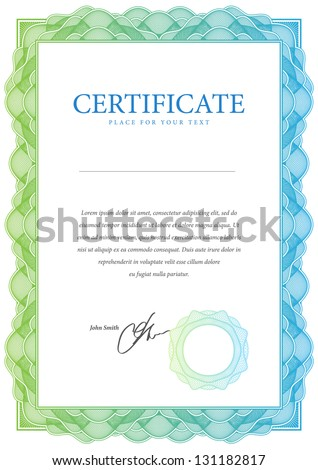 Template that is used in certificate, currency and diplomas. Vector illustration - stock vector