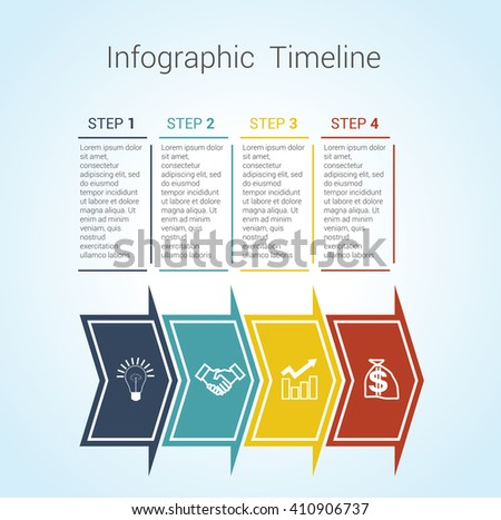 Template Timeline Infographic colored horizontal arrows numbered for four position can be used for workflow, banner, diagram, web design, area chart - stock vector