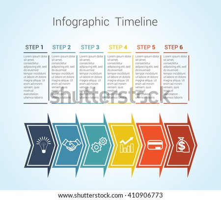 Template Timeline Infographic colored horizontal arrows numbered for six position can be used for workflow, banner, diagram, web design, area chart  - stock vector
