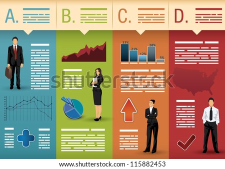 Template used for infographics, websites, brochures, presentations - stock vector