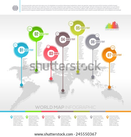 Template vector design - world map infographic with map pointers - stock vector