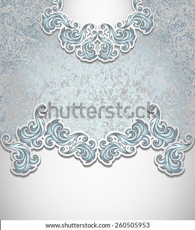 Template vintage background in silver blue colors for invitation or congratulation or package perfumer, cosmetic, jewelry, sweets, tea, cigarettes or for label vodka - stock vector
