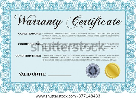 Template Warranty certificate. Superior design. Border, frame. With quality background.  - stock vector