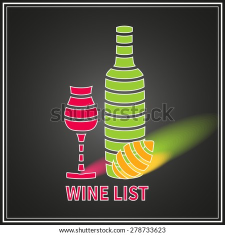 Template wine list with wine glasses,wine bottle and lemon isolated on black background. - stock vector