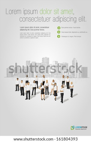 Template with business people in front of a city  - stock vector