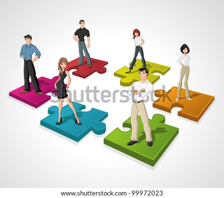 Template with cartoon business people over puzzle pieces - stock vector