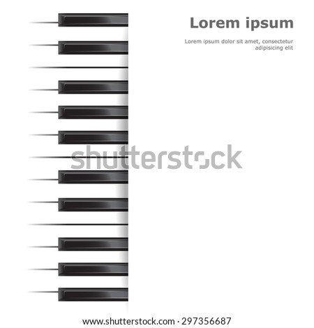 Template with piano keyboard on white  background. Vector illustration. - stock vector