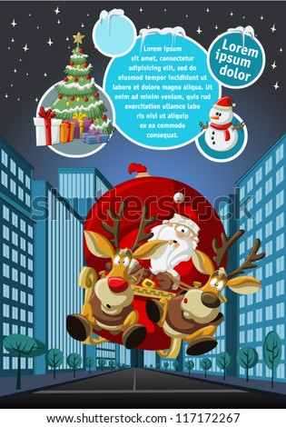 Template with Santa Claus on sleigh with reindeer flying over city on christmas night - stock vector