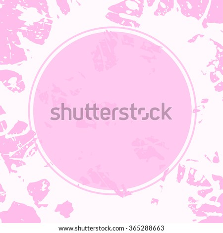 Template with semi-transparent pink circle over pastel colored artistic paint splashes, ready for your text. - stock vector