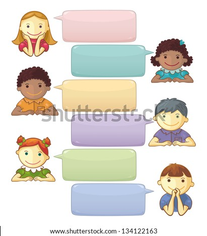 Template With Speech Bubbles And Personages - stock vector