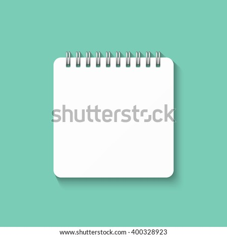 Template with spiral notebook isolated on a green background. School notebook. Diary for business. Notebook cover design. Realistic Notepad. Office stationery items.  - stock vector