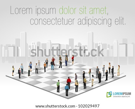 Template with two groups of business people on chess board - stock vector