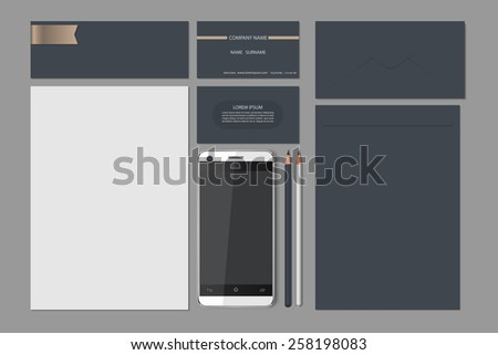 Templates:blank, business cards, smart phone, brand-book,pencil,envelope,Vector illustration. - stock vector