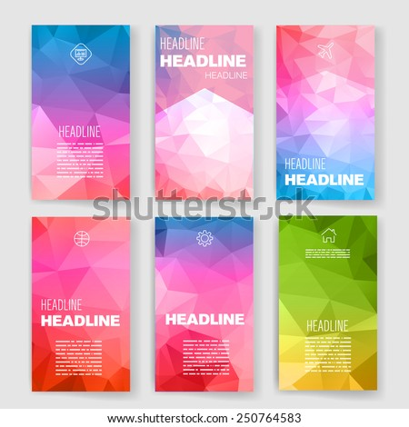 Templates. Design Set of Web, Mail, Brochures. Mobile, Technology, App and Infographic Concept. Modern flat and line icons. Square button layout. Layered, embossed tiles template.  - stock vector