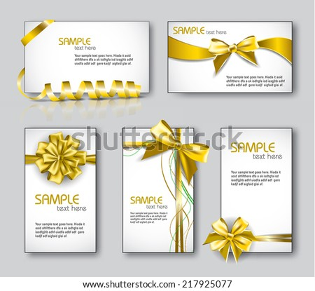 Templates for Business Cards or Gift Cards. Bow Design. - stock vector