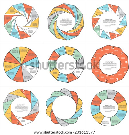 Templates for diagram and presentation, ten steps of process - stock vector