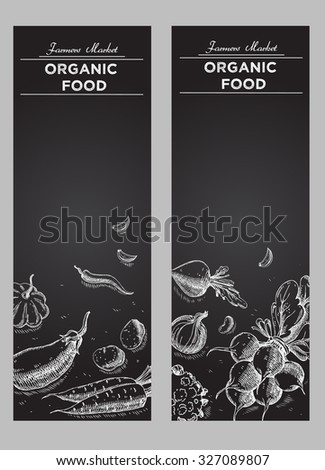 Templates for label design with hand drawn linear vegetables. Can be used for vegan products, brochures, banner, restaurant menu, farmers market and organic food store - stock vector