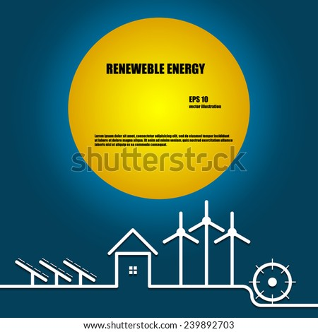 Templates for renewable energy or ecology logo, booklet or flyer. - stock vector