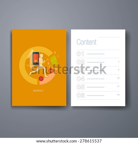 Templates.Running man vector illustration. Sporting person, workout, training and real time achievement analytic tracking through smartphone apps modern flat design icons concept. - stock vector
