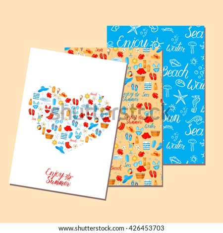 Templates with holiday symbols. Blue, red, yellow color. For your design, announcements, greeting cards, posters, advertisement. - stock vector