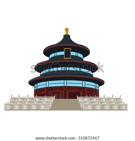 Temple of Heaven in Beijing, China, vector illustration. - stock vector