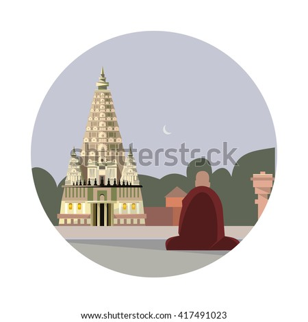 Temple of mahabodhi icon isolated on white background. Vector illustration for famous india building design. Travel tour buddhism postcard. Buddhist landmark symbol Touristic asian religion temple - stock vector