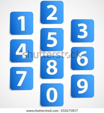 Ten blue 3d banners with numbers. Vector illustration - stock vector