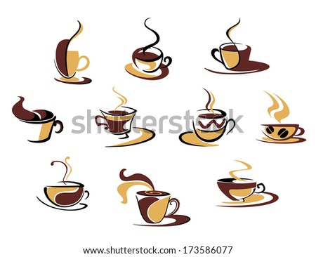 Ten different espresso coffee cups for fast food design - stock vector