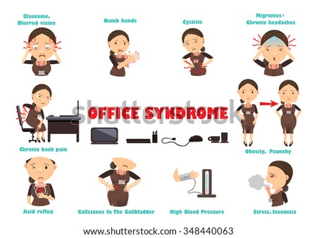 Ten disease caused by computer work, vector illustration - stock vector
