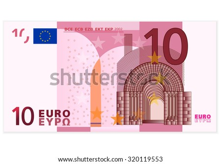 Ten euro banknote on a white background. - stock vector