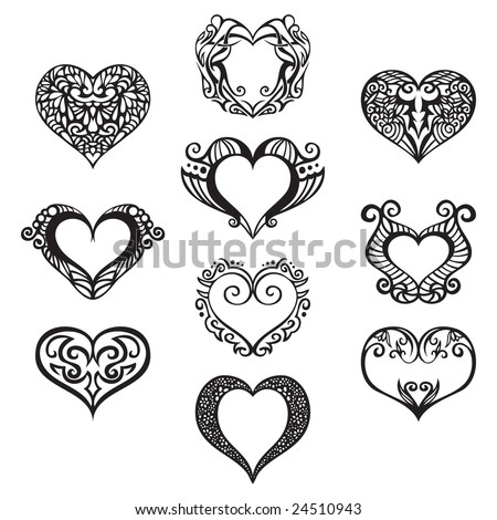 Ten heart ornaments to use in your designs. - stock vector