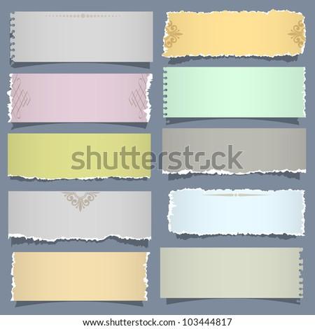 Ten notes paper in pastel colors. Vector eps 10 - stock vector