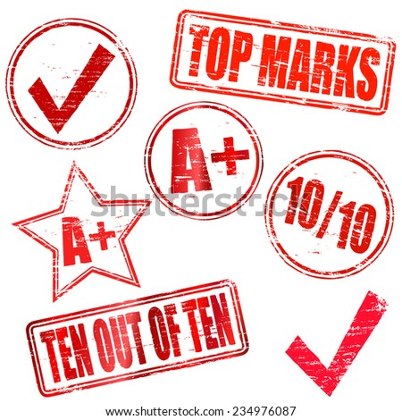 Ten out of Ten Rubber stamps  - stock vector