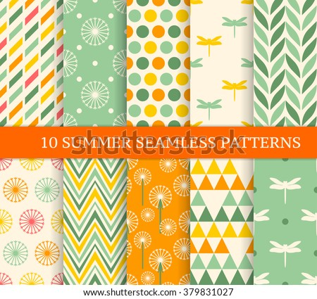 Ten retro different summer seamless patterns. Endless texture for wallpaper, fill, web page background, texture. Colorful geometric background.  - stock vector